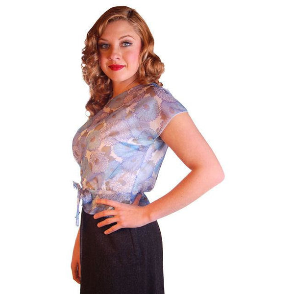 "Vintage Blouse Sheer Blue Nylon  W/ Peplum 1950S 34"" Bust - The Best Vintage Clothing  - 1"
