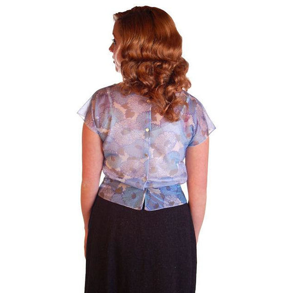 "Vintage Blouse Sheer Blue Nylon  W/ Peplum 1950S 34"" Bust - The Best Vintage Clothing  - 3"