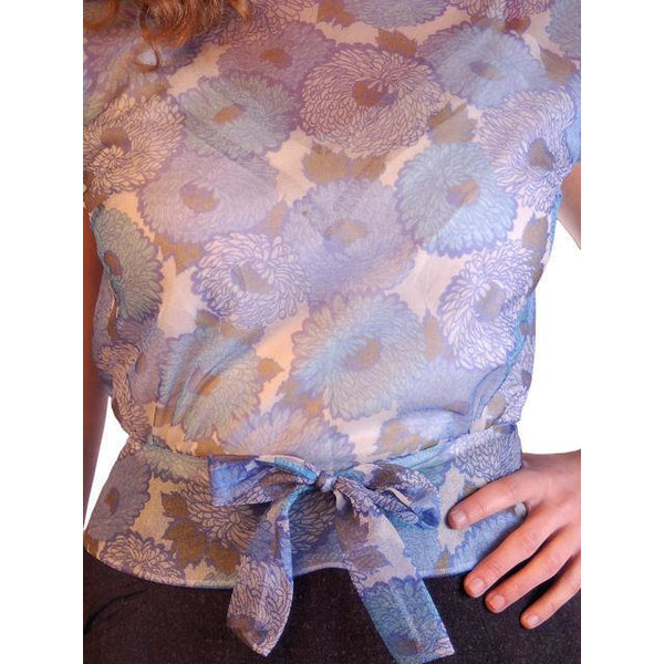 "Vintage Blouse Sheer Blue Nylon  W/ Peplum 1950S 34"" Bust - The Best Vintage Clothing  - 4"