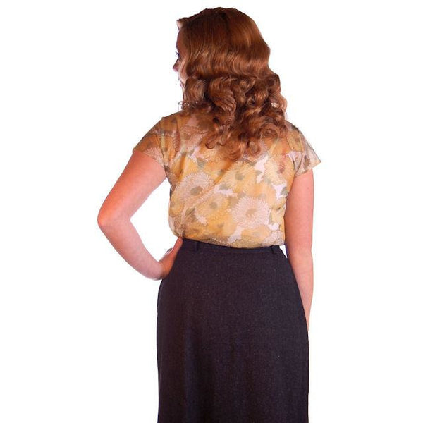 Vintage Sheer Nylon Printed Blouse Gold Floral 1950S 34 - The Best Vintage Clothing  - 3