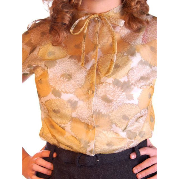 Vintage Sheer Nylon Printed Blouse Gold Floral 1950S 34 - The Best Vintage Clothing  - 5