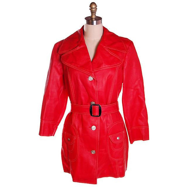 Vintage Red Dynahide Short Trench Coat 1970S Siz 12-14 - The Best Vintage Clothing  - 1