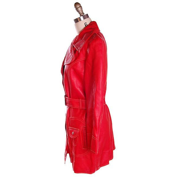Vintage Red Dynahide Short Trench Coat 1970S Siz 12-14 - The Best Vintage Clothing  - 2