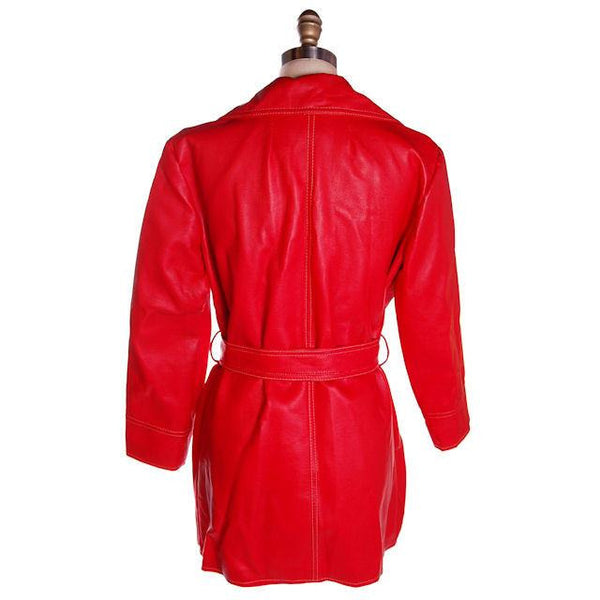 Vintage Red Dynahide Short Trench Coat 1970S Siz 12-14 - The Best Vintage Clothing  - 3