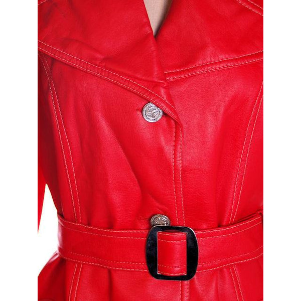 Vintage Red Dynahide Short Trench Coat 1970S Siz 12-14 - The Best Vintage Clothing  - 4