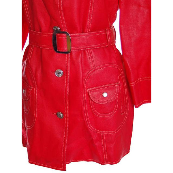Vintage Red Dynahide Short Trench Coat 1970S Siz 12-14 - The Best Vintage Clothing  - 6