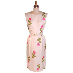 Vintage Fitted Silk Roses Day Dress Nat Kaplan NOS 1950S 34-25-38 - The Best Vintage Clothing  - 1