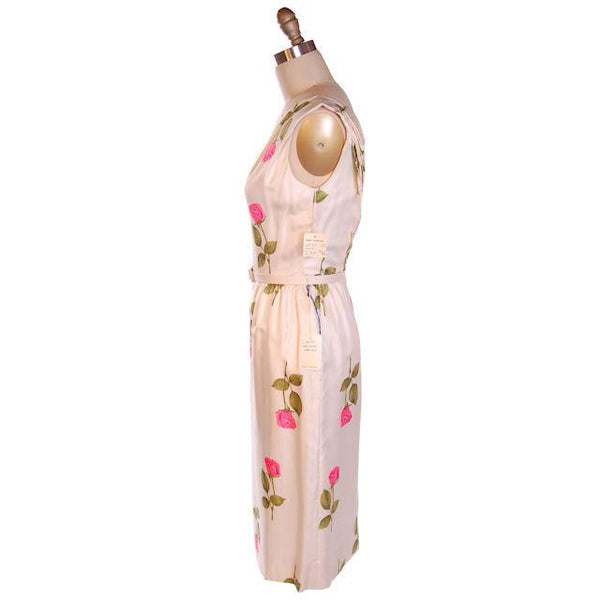 Vintage Fitted Silk Roses Day Dress Nat Kaplan NOS 1950S 34-25-38 - The Best Vintage Clothing  - 2