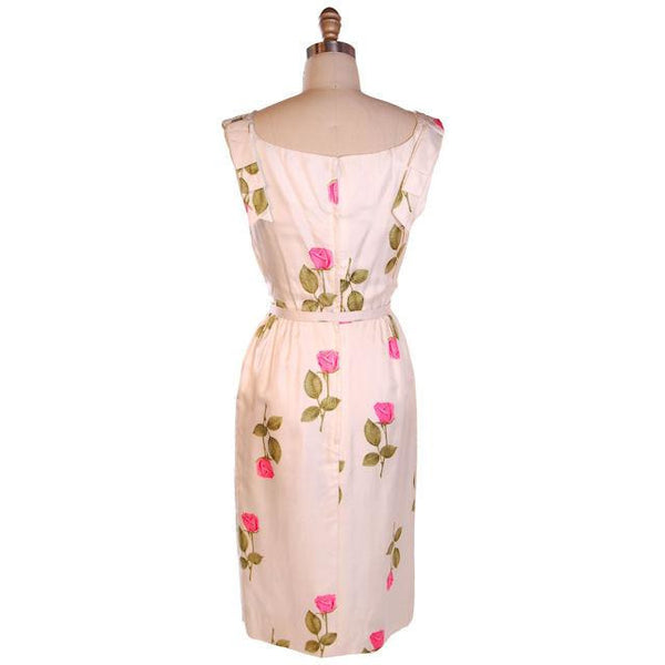Vintage Fitted Silk Roses Day Dress Nat Kaplan NOS 1950S 34-25-38 - The Best Vintage Clothing  - 3