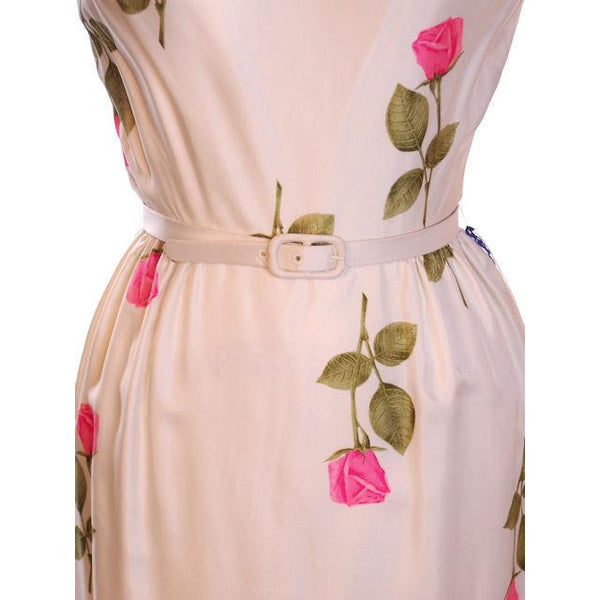 Vintage Fitted Silk Roses Day Dress Nat Kaplan NOS 1950S 34-25-38 - The Best Vintage Clothing  - 4