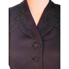 "Vintage Beaded Jacket Black Gabardine Stunning 1940S  36"" Bust 28"" Waist - The Best Vintage Clothing  - 5"