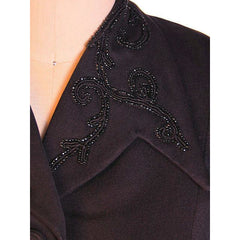 "Vintage Beaded Jacket Black Gabardine Stunning 1940S  36"" Bust 28"" Waist - The Best Vintage Clothing  - 4"