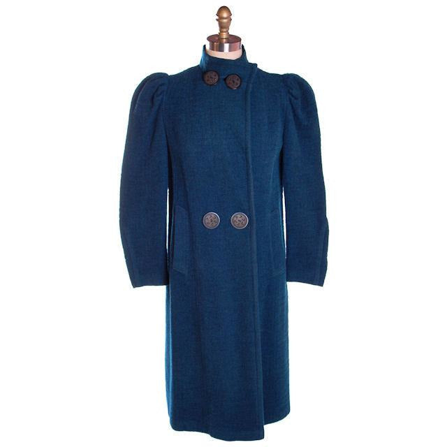 Vintage Textured Wool Coat Deep Turquoise Huge Shoulders 1930S M-L - The Best Vintage Clothing  - 1