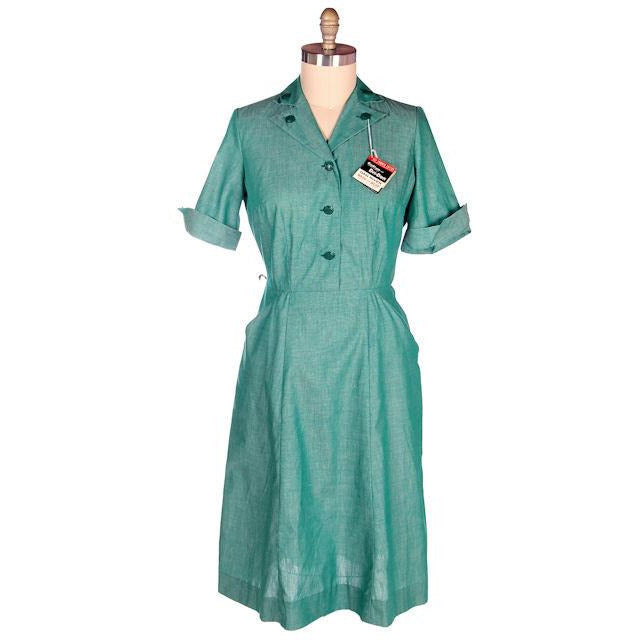 Vintage Green Cotton  Girl Scout Master Dress NOS 1950s 42-31-46 - The Best Vintage Clothing  - 1