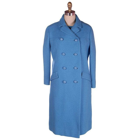 Vintage Sheath Dress /Coat Blue Nubby Wool 1960s Bergdorf on Plaza 38-38-39
