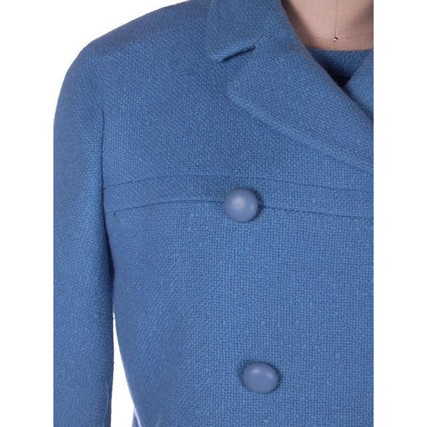 Vintage Sheath Dress /Coat Blue Nubby Wool 1960s Bergdorf on Plaza 38-38-39 - The Best Vintage Clothing  - 2