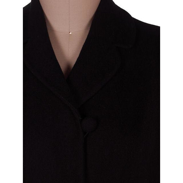Vintage Ladies Classic Black Cashmere Coat 1950s M-L 44Bust - The Best Vintage Clothing  - 3