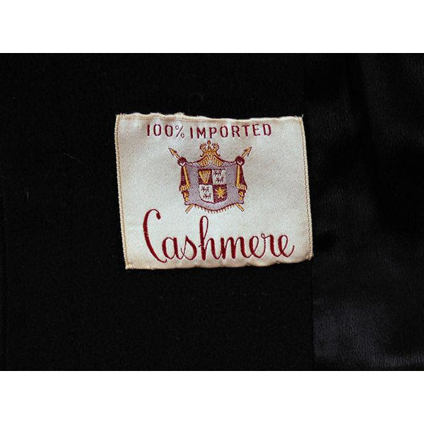 Vintage Ladies Classic Black Cashmere Coat 1950s M-L 44Bust - The Best Vintage Clothing  - 7