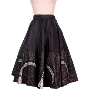 "Vintage Circle Skirt Black & Silver Inca? Whimsical Border Print 1950s 27"" Waist - The Best Vintage Clothing  - 1"