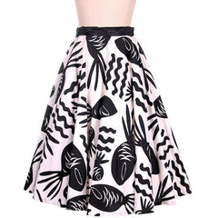 Vintage Cotton Circle Skirt Black & White Bold Whimsical Fish Print 1950s 26 Wais - The Best Vintage Clothing  - 2