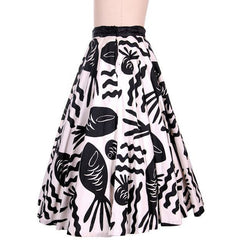 Vintage Cotton Circle Skirt Black & White Bold Whimsical Fish Print 1950s 26 Wais - The Best Vintage Clothing  - 3