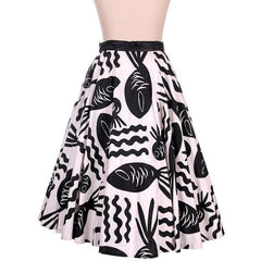 Vintage Cotton Circle Skirt Black & White Bold Whimsical Fish Print 1950s 26 Wais - The Best Vintage Clothing  - 1