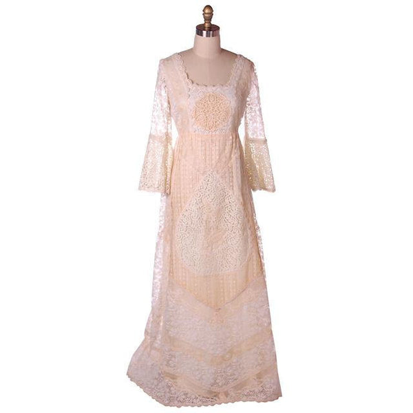 Vintage Cream Lace & Applique Wedding Dress Empire Waist 1970s 35-30-48 - The Best Vintage Clothing  - 1