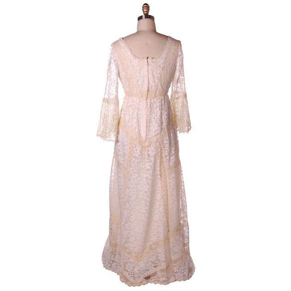 Vintage Cream Lace & Applique Wedding Dress Empire Waist 1970s 35-30-48 - The Best Vintage Clothing  - 5