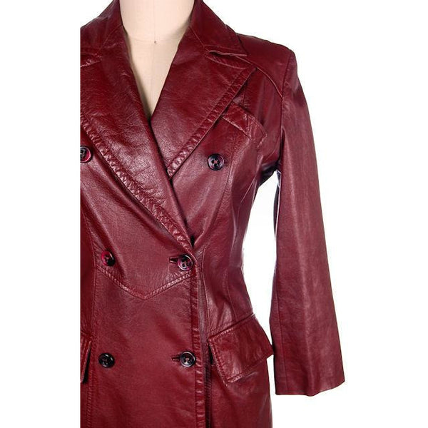 Vintage Etienne Aigner Leather Trench Coat 1970s Size 38 Bust Sz 14 - The Best Vintage Clothing  - 7