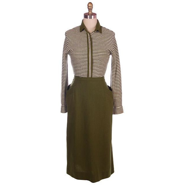 Vintage Knit Top & Matching Skirt Green/White Susan Thomas 1940s New Look 35-26-44 - The Best Vintage Clothing  - 1