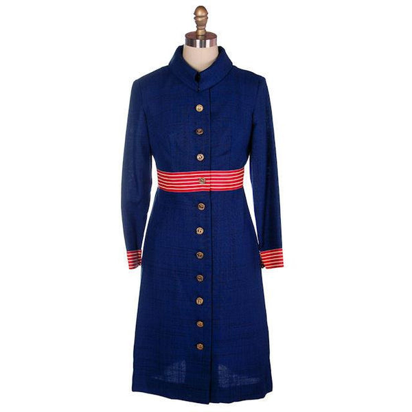 Vintage Navy Linen Coat/Dress Red/White Trim Nautical 1970s 35-28-38 - The Best Vintage Clothing  - 1