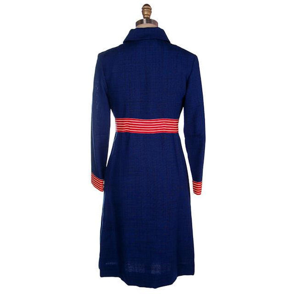 Vintage Navy Linen Coat/Dress Red/White Trim Nautical 1970s 35-28-38 - The Best Vintage Clothing  - 3