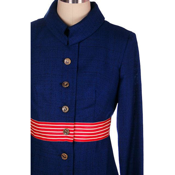 Vintage Navy Linen Coat/Dress Red/White Trim Nautical 1970s 35-28-38 - The Best Vintage Clothing  - 4