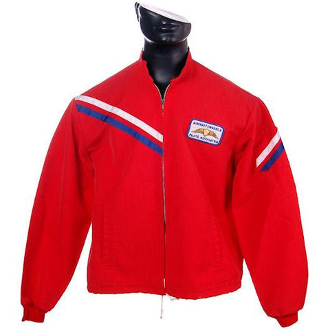 VIntage Mens Jacket Red Cotton Aircraft/Pilots Association Patch 1960s Large
