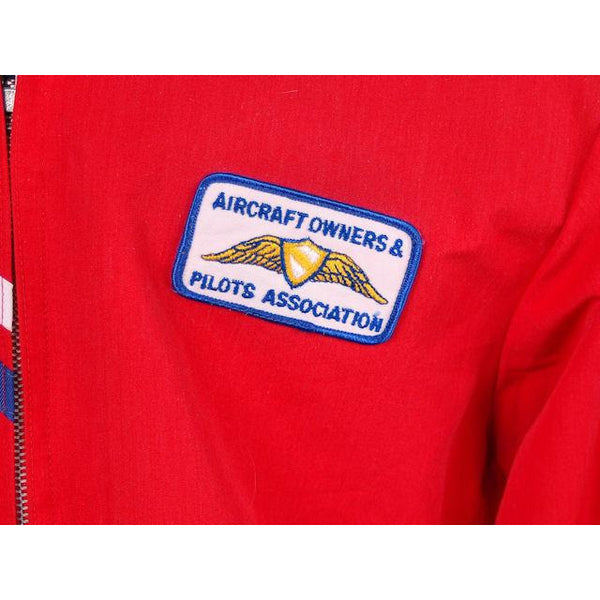 VIntage Mens Jacket Red Cotton Aircraft/Pilots Association Patch 1960s Large - The Best Vintage Clothing  - 4