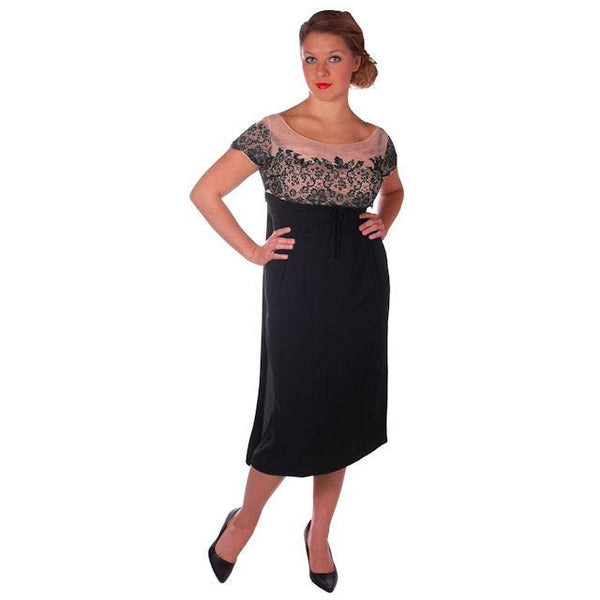 Vintage Black Rayon & Lace Cocktail Hobble Dress Wiggle Train 1950s 40-30-43 - The Best Vintage Clothing  - 5