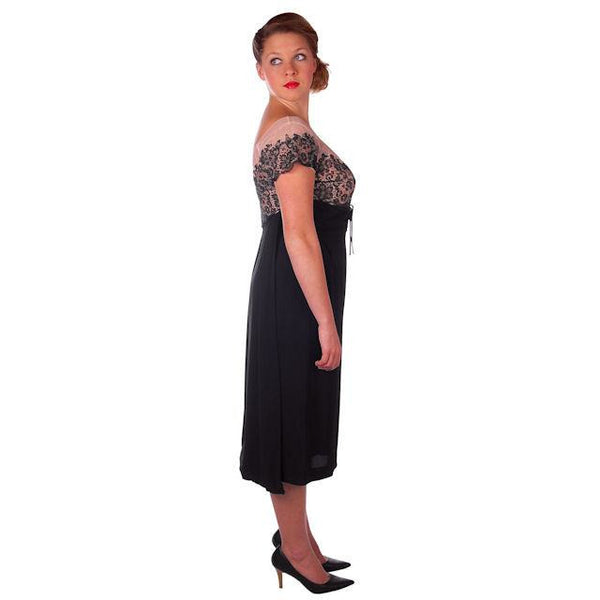Vintage Black Rayon & Lace Cocktail Hobble Dress Wiggle Train 1950s 40-30-43 - The Best Vintage Clothing  - 2