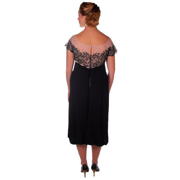 Vintage Black Rayon & Lace Cocktail Hobble Dress Wiggle Train 1950s 40-30-43 - The Best Vintage Clothing  - 3