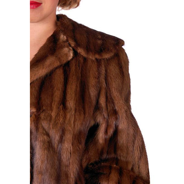 Vintage Swing Coat Muskrat Fur Extreme 1940s Big Shoulders Vogue Shop M - The Best Vintage Clothing  - 1