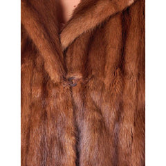 Vintage Swing Coat Muskrat Fur Extreme 1940s Big Shoulders Vogue Shop M - The Best Vintage Clothing  - 4