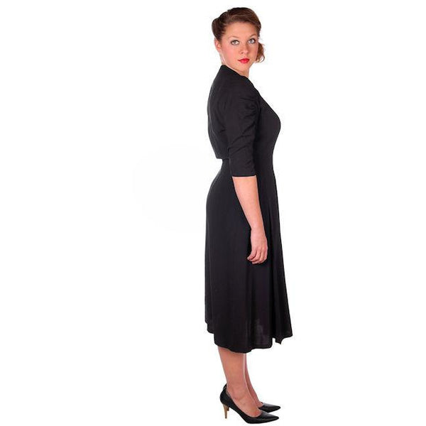 Vintage Black Rayon Cocktail Dress Jeanne Lanvin 1940s Unique Sleeves 42-31-43 - The Best Vintage Clothing  - 2