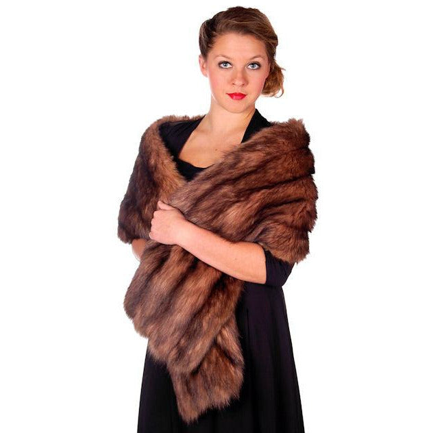 "Vintage Stole 70"" Long Dark Brown Badger Fur  Mendessolle 30S Cats Pajamas - The Best Vintage Clothing  - 1"