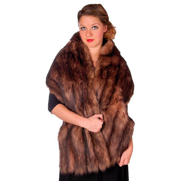 "Vintage Stole 70"" Long Dark Brown Badger Fur  Mendessolle 30S Cats Pajamas - The Best Vintage Clothing  - 5"