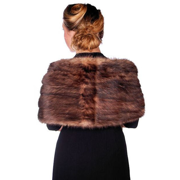 "Vintage Stole 70"" Long Dark Brown Badger Fur  Mendessolle 30S Cats Pajamas - The Best Vintage Clothing  - 2"