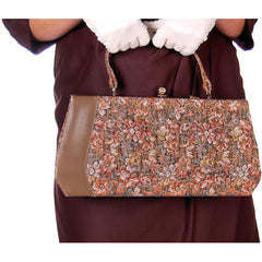 Vintage Brown Metallic Floral Tapestry Bag Purse Long 1950s - The Best Vintage Clothing  - 1