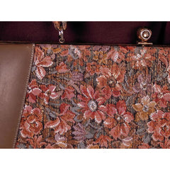 Vintage Brown Metallic Floral Tapestry Bag Purse Long 1950s - The Best Vintage Clothing  - 5