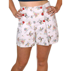 Vintage Sailor Style Shorts Ladies Adorable Kitschy Mexican Print 1940s 32 Waist - The Best Vintage Clothing  - 1