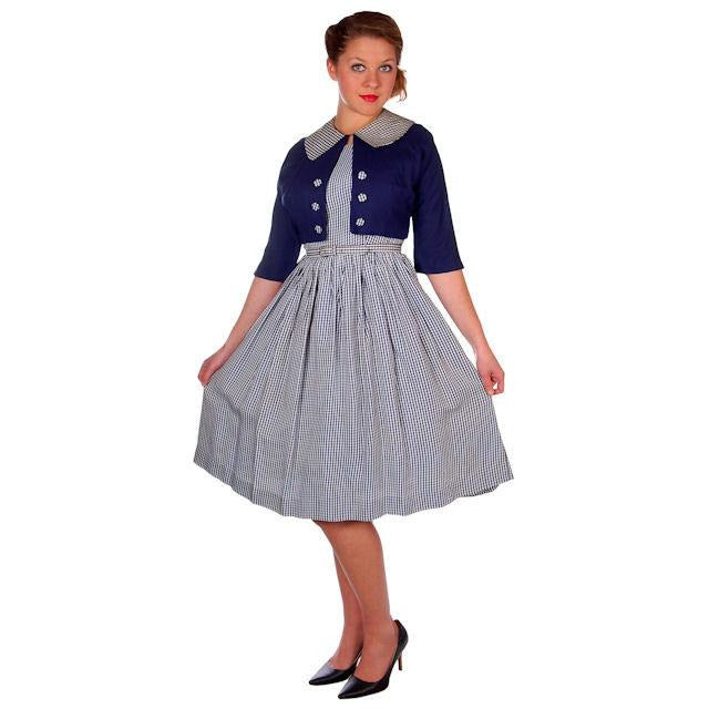 Vintage Day Dress Navy Gingham & Linen Jacket 1950s 41-30-Free - The Best Vintage Clothing  - 1
