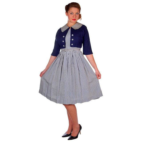 Vintage Day Dress Navy Gingham & Linen Jacket 1950s 41-30-Free