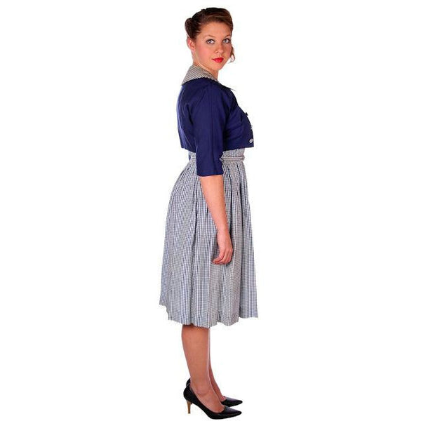 Vintage Day Dress Navy Gingham & Linen Jacket 1950s 41-30-Free - The Best Vintage Clothing  - 3